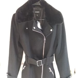 short faux fur collar belted wool-blend coat